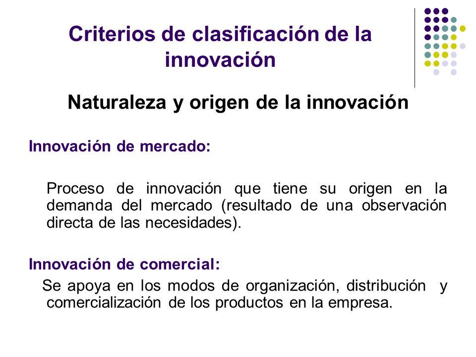 Criterios de clasificación de la innovación Naturaleza y origen de la innovación Innovación de mercado: Proceso de innovación que tiene su origen en l