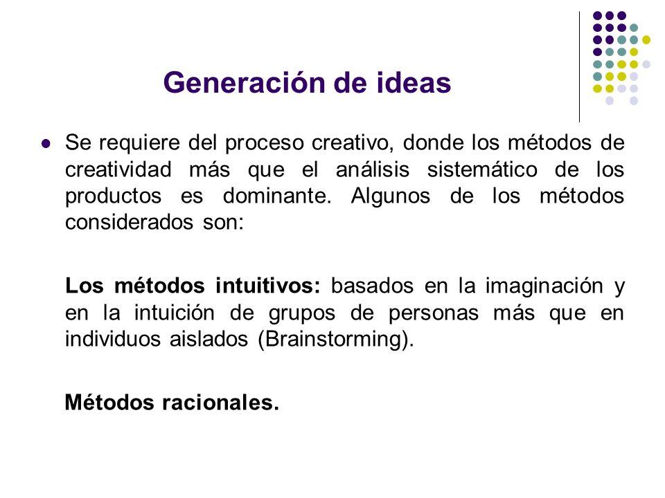 Generación de ideas Se requiere del proceso creativo, donde los métodos de creatividad más que el análisis sistemático de los productos es dominante.