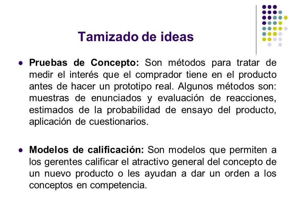Tamizado de ideas Pruebas de Concepto: Son métodos para tratar de medir el interés que el comprador tiene en el producto antes de hacer un prototipo r