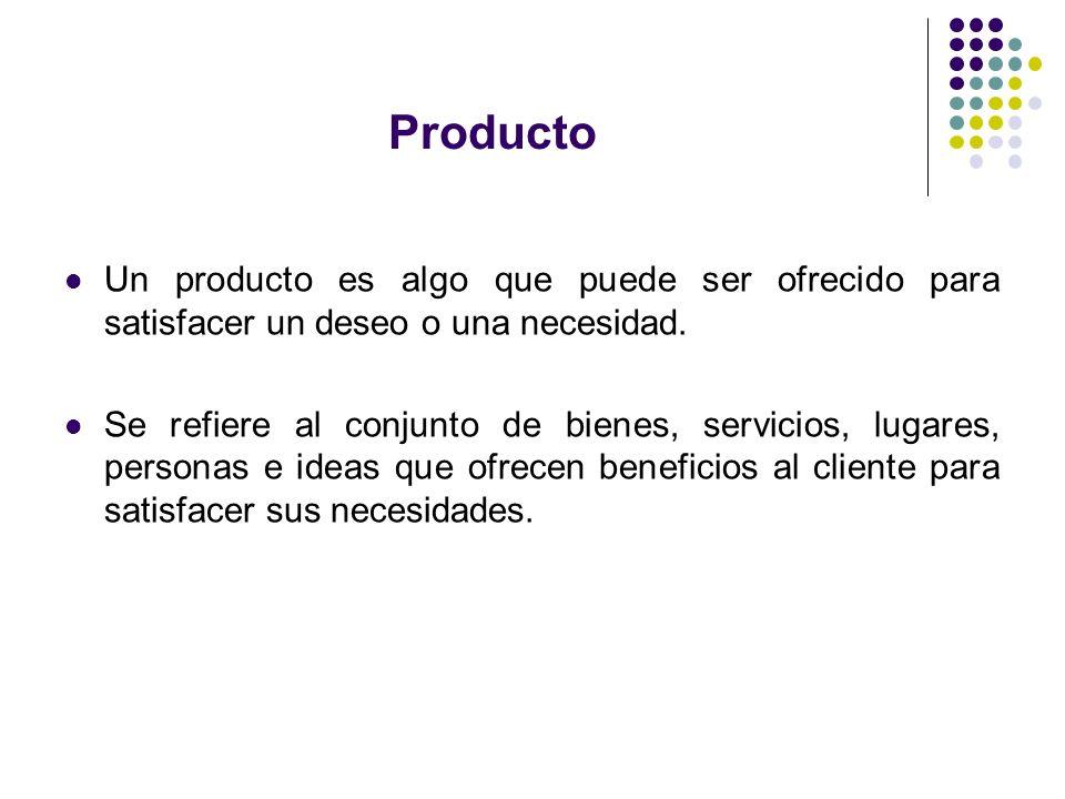 Producto Un producto es algo que puede ser ofrecido para satisfacer un deseo o una necesidad. Se refiere al conjunto de bienes, servicios, lugares, pe