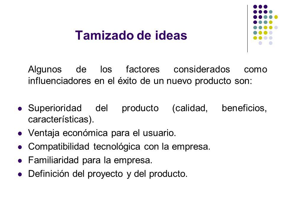 Tamizado de ideas Algunos de los factores considerados como influenciadores en el éxito de un nuevo producto son: Superioridad del producto (calidad,
