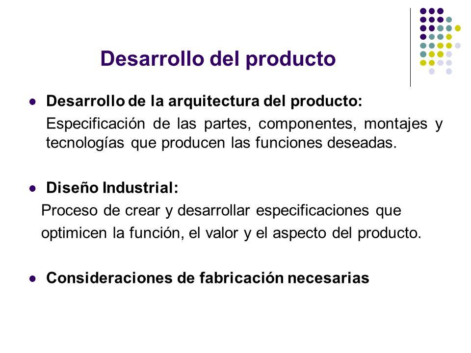 Desarrollo del producto Desarrollo de la arquitectura del producto: Especificación de las partes, componentes, montajes y tecnologías que producen las