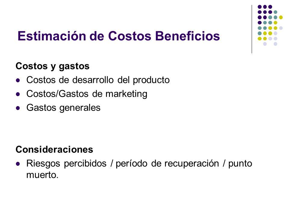 Estimación de Costos Beneficios Costos y gastos Costos de desarrollo del producto Costos/Gastos de marketing Gastos generales Consideraciones Riesgos