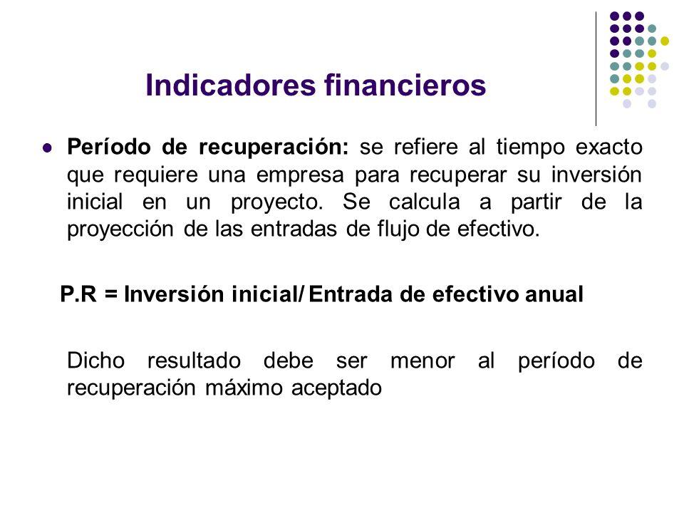 Indicadores financieros Período de recuperación: se refiere al tiempo exacto que requiere una empresa para recuperar su inversión inicial en un proyec