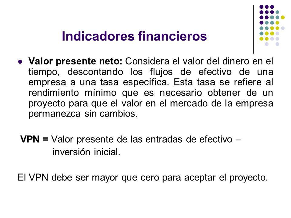 Indicadores financieros Valor presente neto: Considera el valor del dinero en el tiempo, descontando los flujos de efectivo de una empresa a una tasa