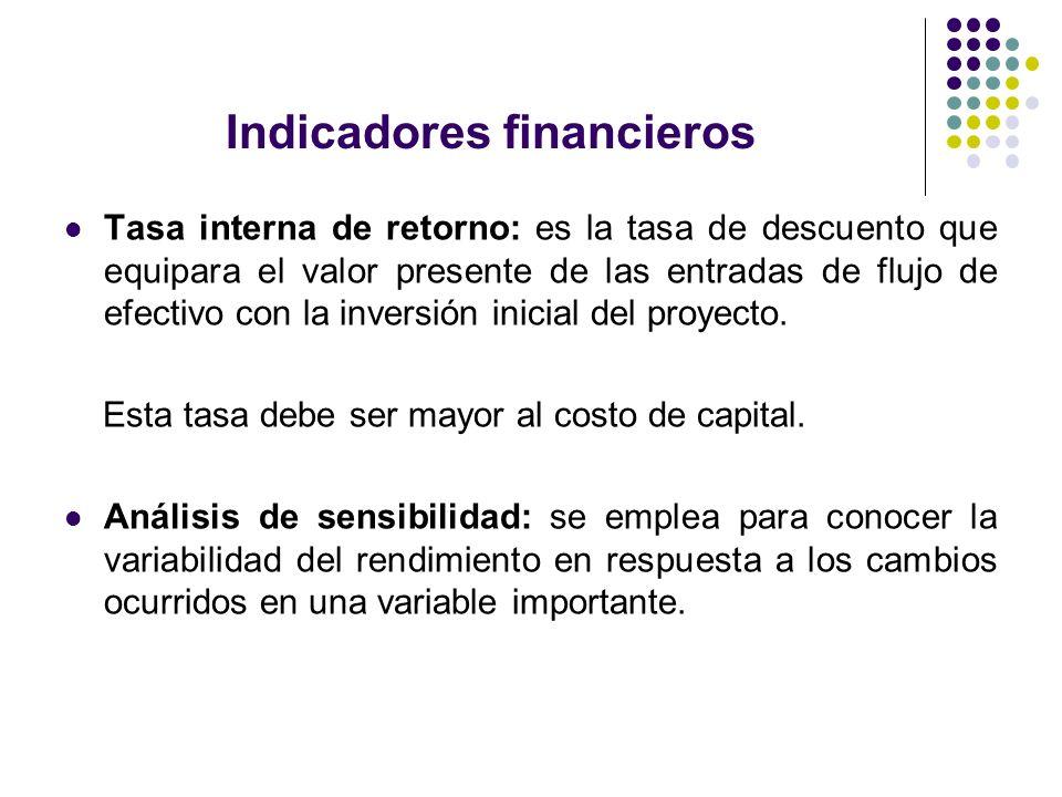 Indicadores financieros Tasa interna de retorno: es la tasa de descuento que equipara el valor presente de las entradas de flujo de efectivo con la in