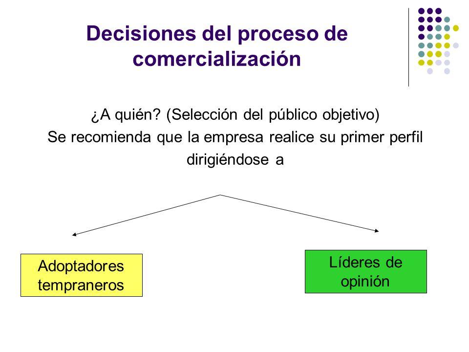 Decisiones del proceso de comercialización ¿A quién? (Selección del público objetivo) Se recomienda que la empresa realice su primer perfil dirigiéndo