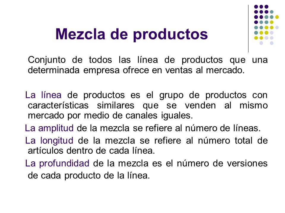 Mezcla de productos Conjunto de todos las línea de productos que una determinada empresa ofrece en ventas al mercado. La línea de productos es el grup
