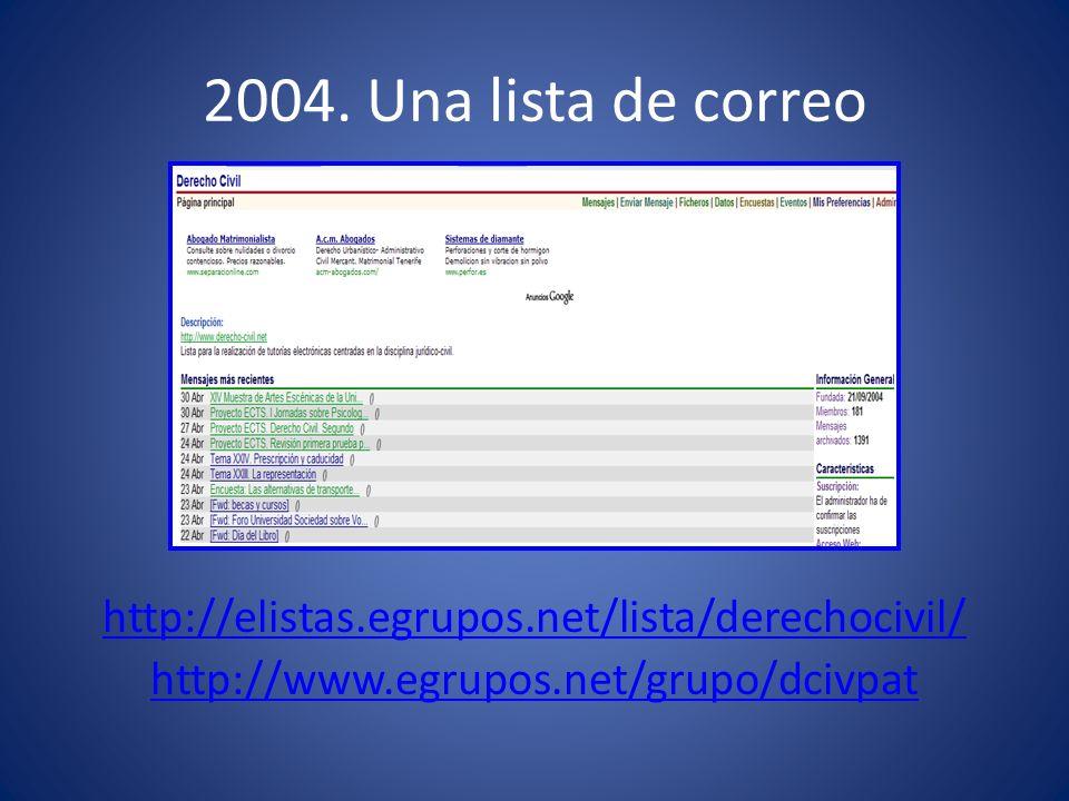 2004. Una lista de correo http://elistas.egrupos.net/lista/derechocivil/ http://www.egrupos.net/grupo/dcivpat