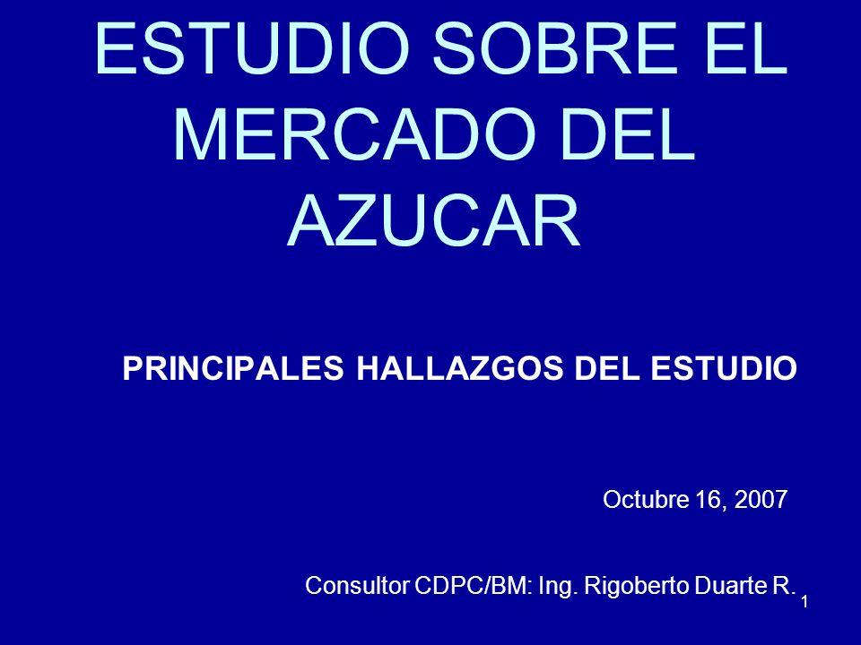 1 ESTUDIO SOBRE EL MERCADO DEL AZUCAR PRINCIPALES HALLAZGOS DEL ESTUDIO Octubre 16, 2007 Consultor CDPC/BM: Ing. Rigoberto Duarte R.