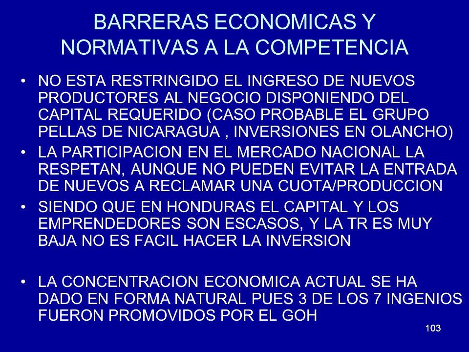 103 BARRERAS ECONOMICAS Y NORMATIVAS A LA COMPETENCIA NO ESTA RESTRINGIDO EL INGRESO DE NUEVOS PRODUCTORES AL NEGOCIO DISPONIENDO DEL CAPITAL REQUERID