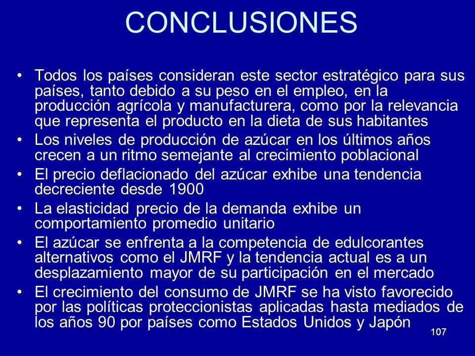 107 CONCLUSIONES Todos los países consideran este sector estratégico para sus países, tanto debido a su peso en el empleo, en la producción agrícola y