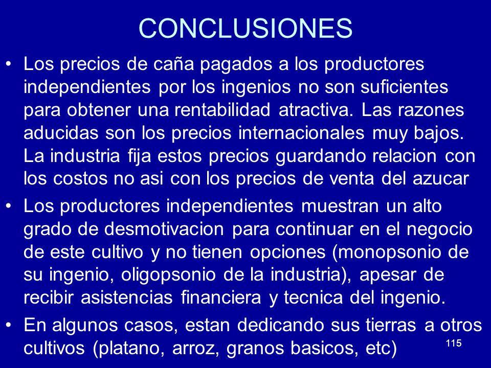 115 CONCLUSIONES Los precios de caña pagados a los productores independientes por los ingenios no son suficientes para obtener una rentabilidad atract