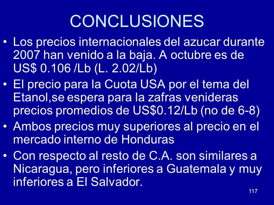 117 CONCLUSIONES Los precios internacionales del azucar durante 2007 han venido a la baja. A octubre es de US$ 0.106 /Lb (L. 2.02/Lb) El precio para l