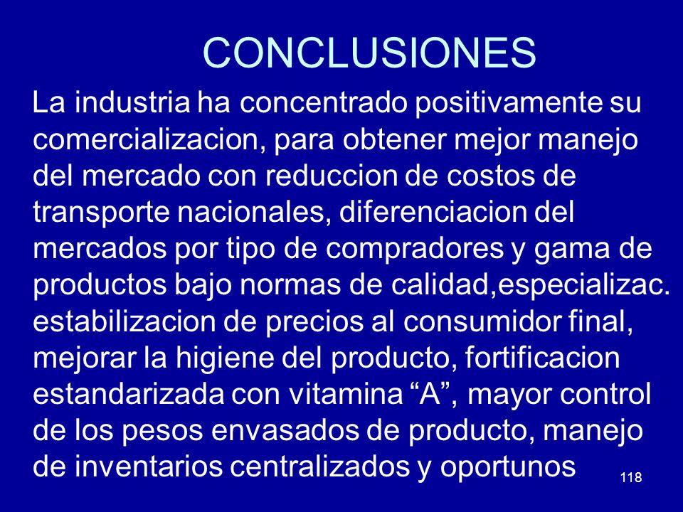 118 CONCLUSIONES La industria ha concentrado positivamente su comercializacion, para obtener mejor manejo del mercado con reduccion de costos de trans