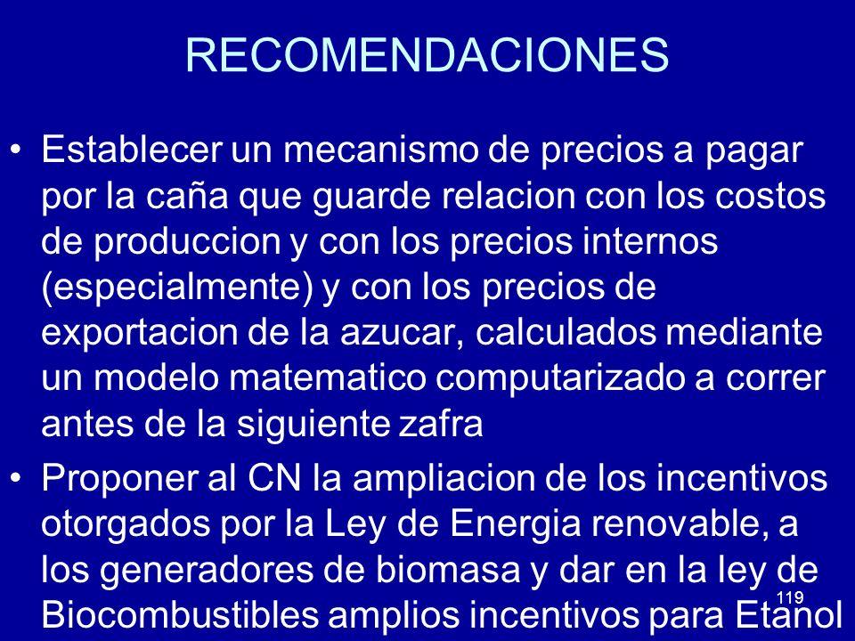 119 RECOMENDACIONES Establecer un mecanismo de precios a pagar por la caña que guarde relacion con los costos de produccion y con los precios internos
