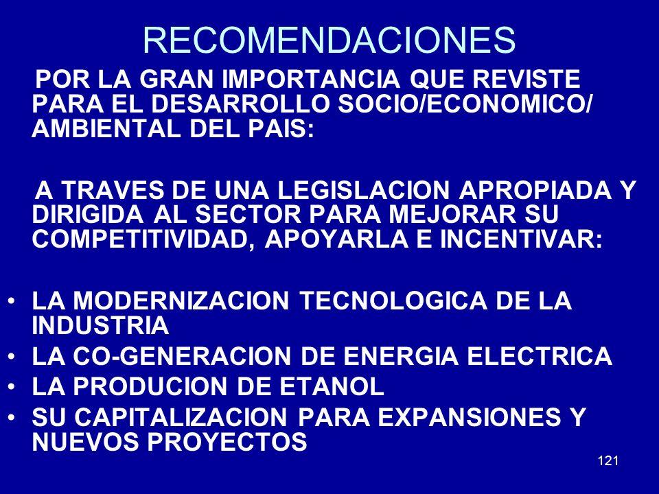 121 RECOMENDACIONES POR LA GRAN IMPORTANCIA QUE REVISTE PARA EL DESARROLLO SOCIO/ECONOMICO/ AMBIENTAL DEL PAIS: A TRAVES DE UNA LEGISLACION APROPIADA