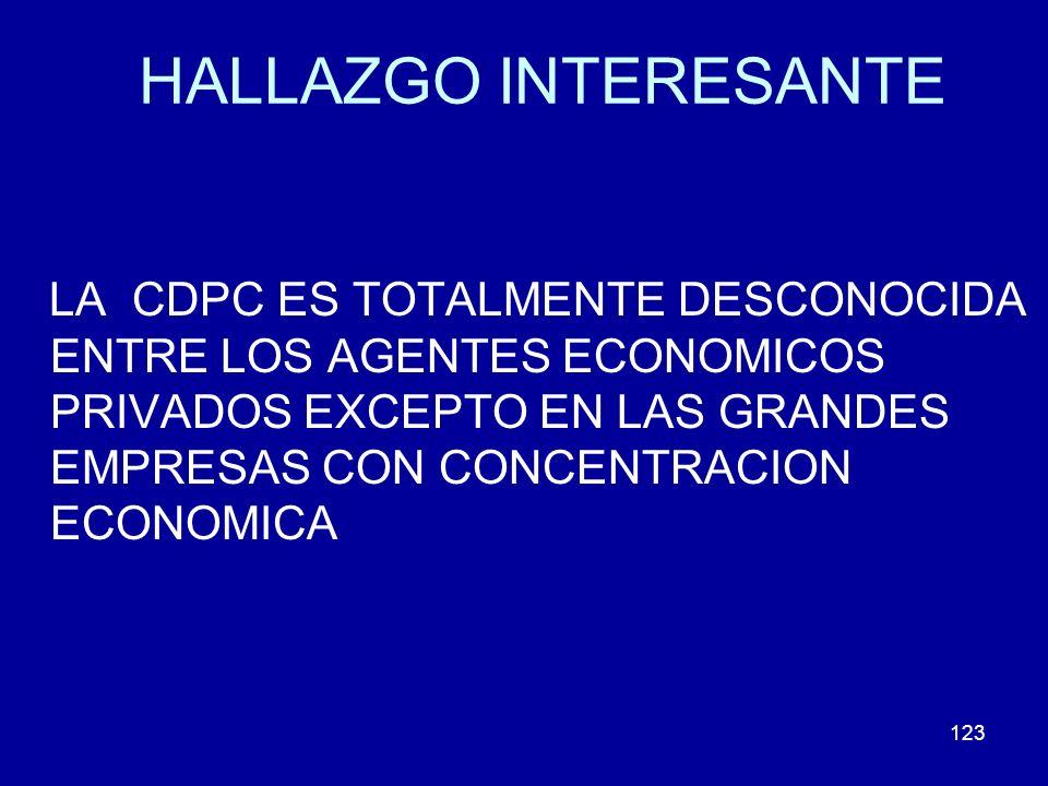 123 HALLAZGO INTERESANTE LA CDPC ES TOTALMENTE DESCONOCIDA ENTRE LOS AGENTES ECONOMICOS PRIVADOS EXCEPTO EN LAS GRANDES EMPRESAS CON CONCENTRACION ECO