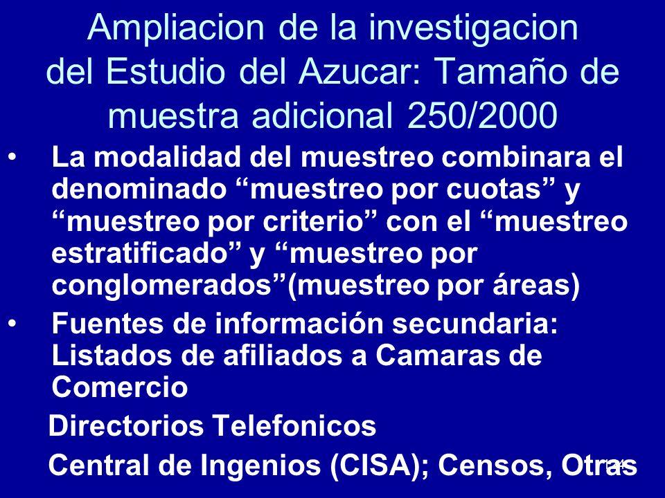124 Ampliacion de la investigacion del Estudio del Azucar: Tamaño de muestra adicional 250/2000 La modalidad del muestreo combinara el denominado mues