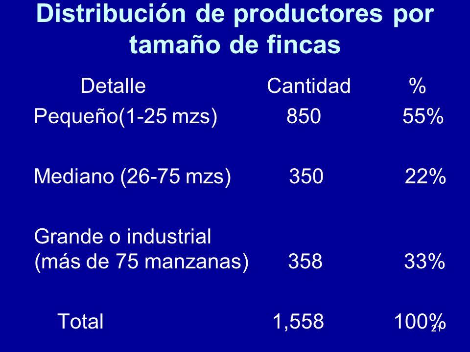 21 Distribución de productores por tamaño de fincas Detalle Cantidad % Pequeño(1-25 mzs) 850 55% Mediano (26-75 mzs) 350 22% Grande o industrial (más