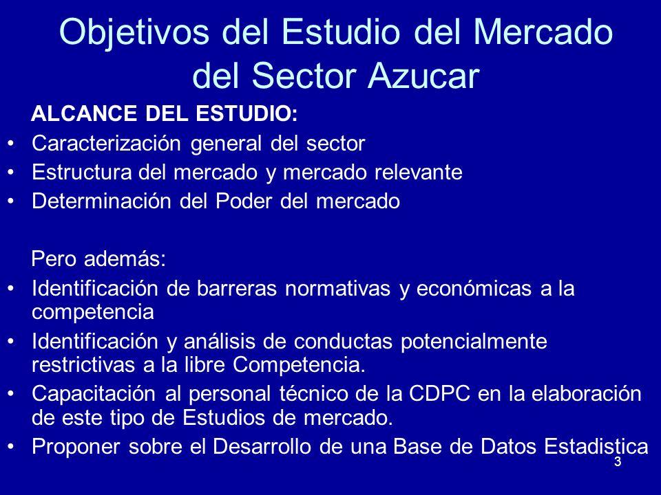 3 Objetivos del Estudio del Mercado del Sector Azucar ALCANCE DEL ESTUDIO: Caracterización general del sector Estructura del mercado y mercado relevan