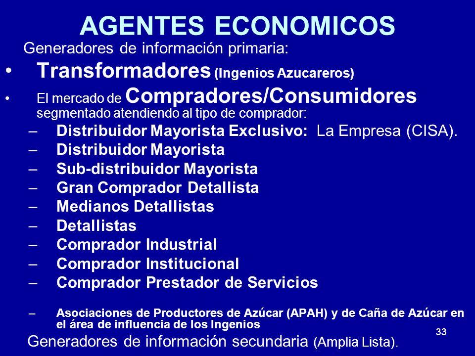 33 AGENTES ECONOMICOS Generadores de información primaria: Transformadores (Ingenios Azucareros) El mercado de Compradores/Consumidores segmentado ate