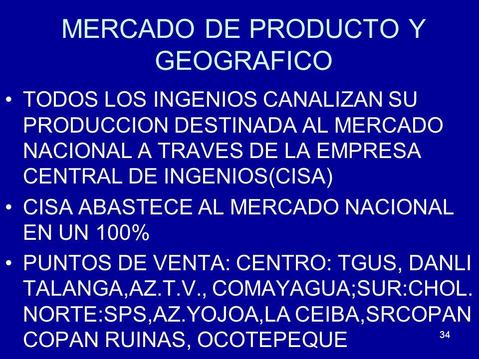 34 MERCADO DE PRODUCTO Y GEOGRAFICO TODOS LOS INGENIOS CANALIZAN SU PRODUCCION DESTINADA AL MERCADO NACIONAL A TRAVES DE LA EMPRESA CENTRAL DE INGENIO