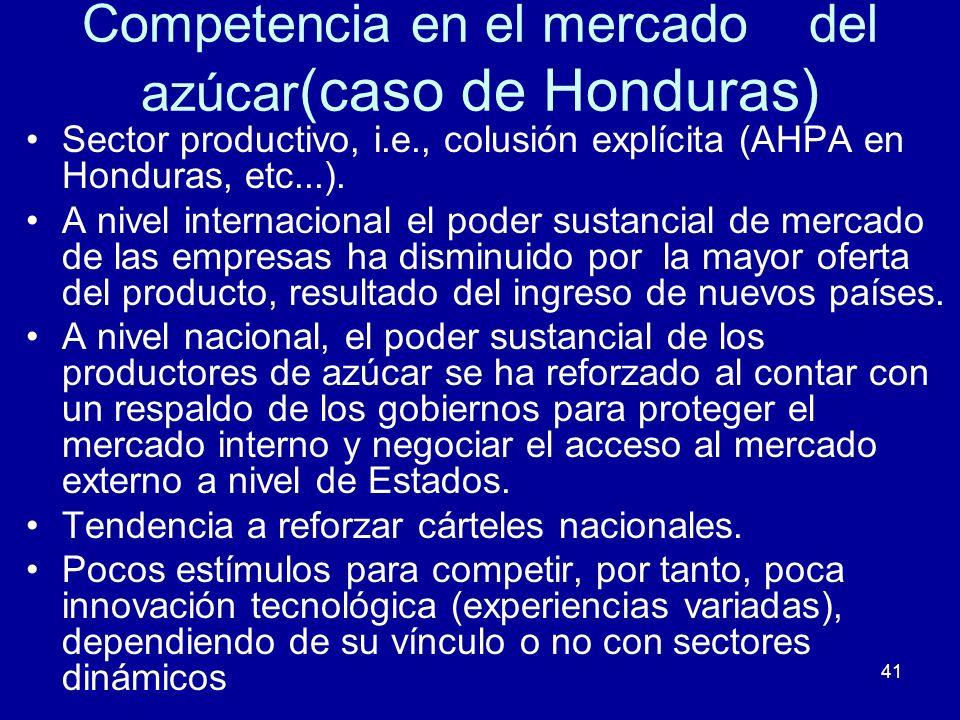 41 Competencia en el mercado del azúcar (caso de Honduras) Sector productivo, i.e., colusión explícita (AHPA en Honduras, etc...). A nivel internacion