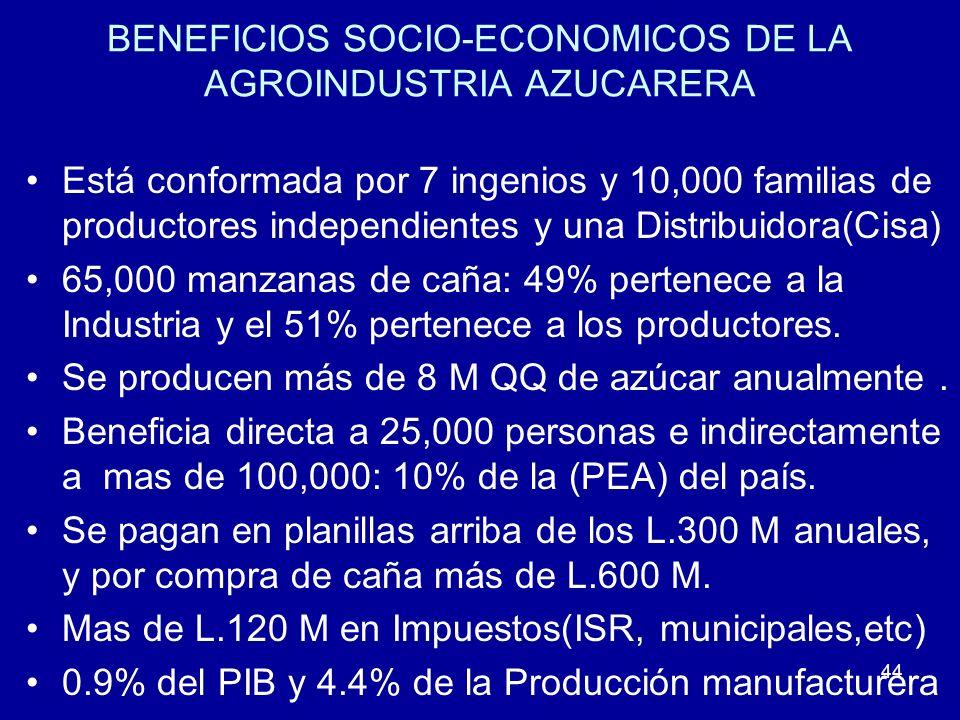 44 BENEFICIOS SOCIO-ECONOMICOS DE LA AGROINDUSTRIA AZUCARERA Está conformada por 7 ingenios y 10,000 familias de productores independientes y una Dist