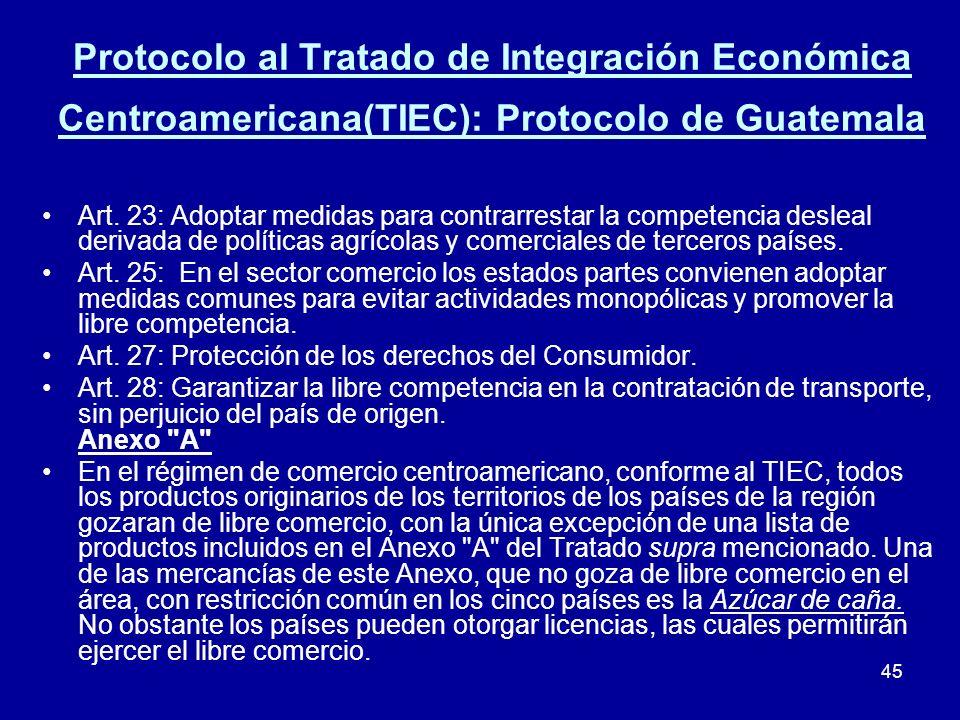 45 Protocolo al Tratado de Integración Económica Centroamericana(TIEC): Protocolo de Guatemala Art. 23: Adoptar medidas para contrarrestar la competen