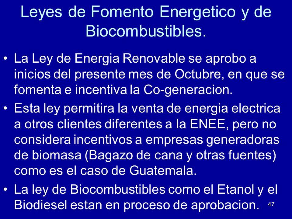 47 Leyes de Fomento Energetico y de Biocombustibles. La Ley de Energia Renovable se aprobo a inicios del presente mes de Octubre, en que se fomenta e