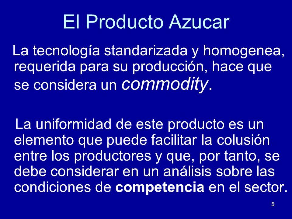 5 El Producto Azucar La tecnología standarizada y homogenea, requerida para su producción, hace que se considera un commodity. La uniformidad de este