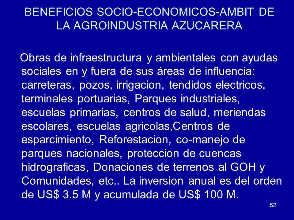 52 BENEFICIOS SOCIO-ECONOMICOS-AMBIT DE LA AGROINDUSTRIA AZUCARERA Obras de infraestructura y ambientales con ayudas sociales en y fuera de sus áreas