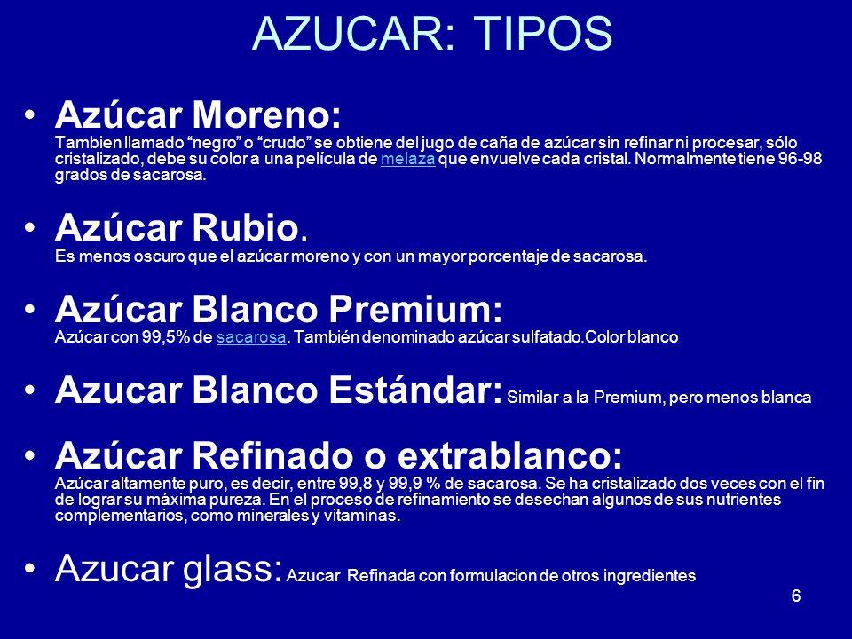 6 AZUCAR: TIPOS Azúcar Moreno: Tambien llamado negro o crudo se obtiene del jugo de caña de azúcar sin refinar ni procesar, sólo cristalizado, debe su