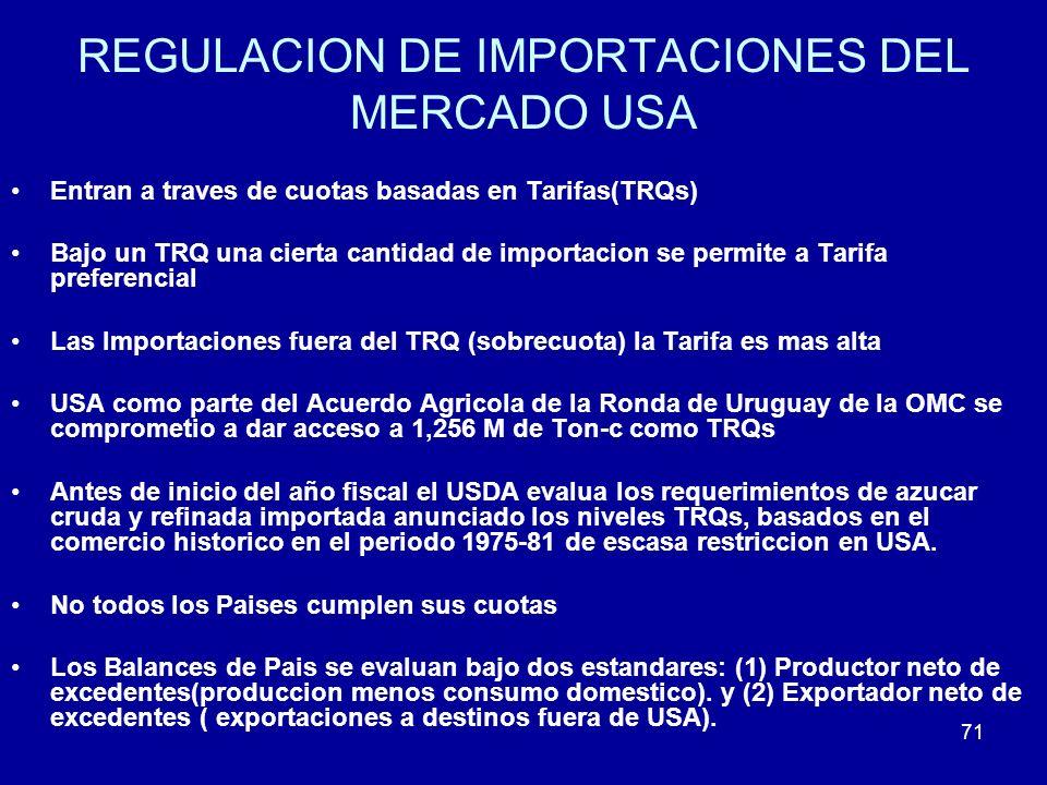 71 REGULACION DE IMPORTACIONES DEL MERCADO USA Entran a traves de cuotas basadas en Tarifas(TRQs) Bajo un TRQ una cierta cantidad de importacion se pe