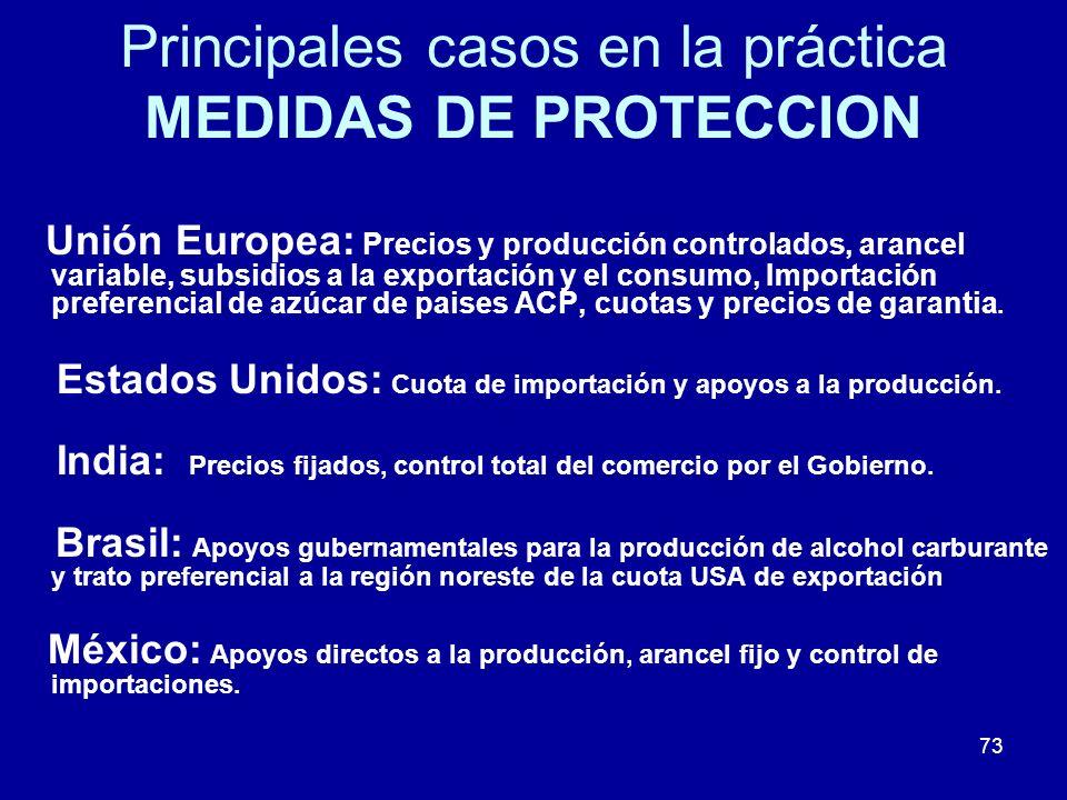 73 Principales casos en la práctica MEDIDAS DE PROTECCION Unión Europea: Precios y producción controlados, arancel variable, subsidios a la exportació
