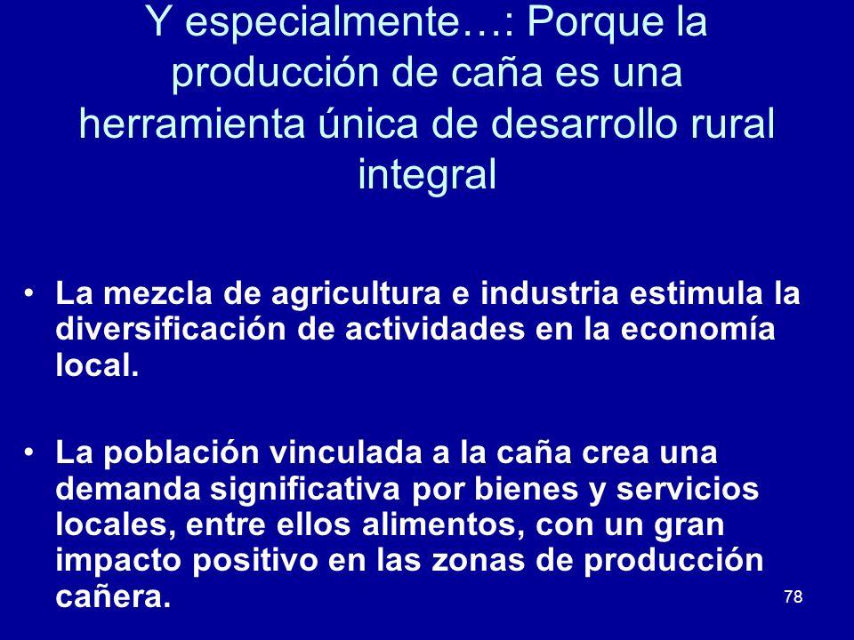 78 Y especialmente…: Porque la producción de caña es una herramienta única de desarrollo rural integral La mezcla de agricultura e industria estimula