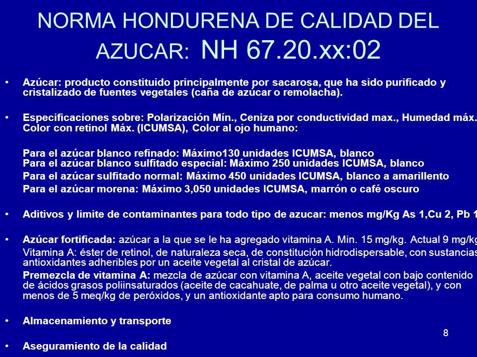 8 NORMA HONDURENA DE CALIDAD DEL AZUCAR: NH 67.20.xx:02 Azúcar: producto constituido principalmente por sacarosa, que ha sido purificado y cristalizad
