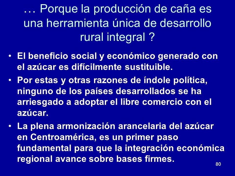 80 … Porque la producción de caña es una herramienta única de desarrollo rural integral ? El beneficio social y económico generado con el azúcar es di