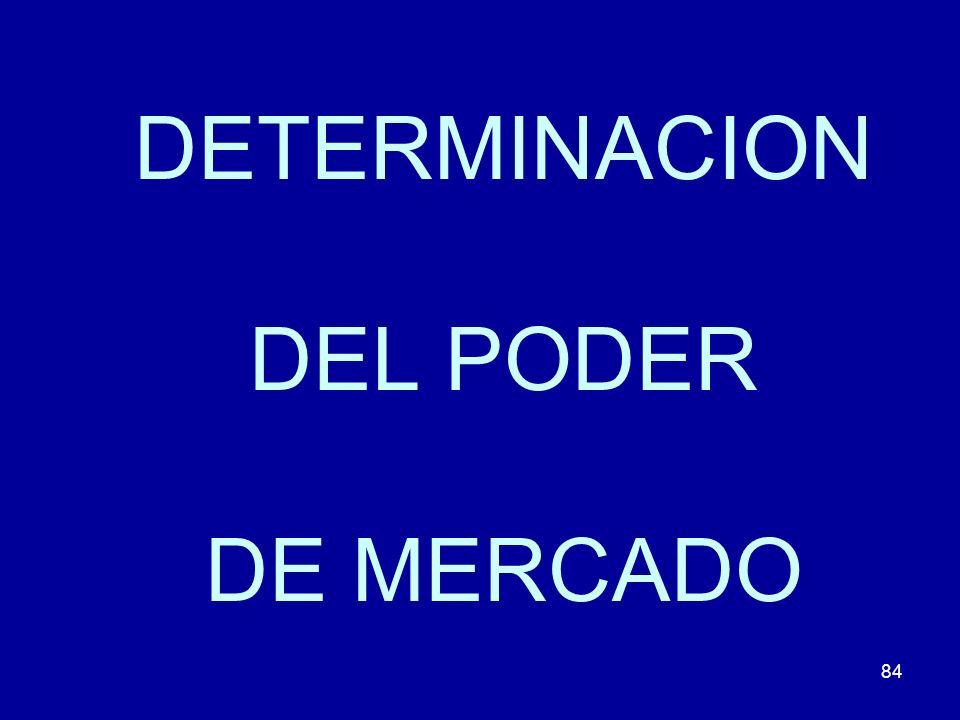 84 DETERMINACION DEL PODER DE MERCADO