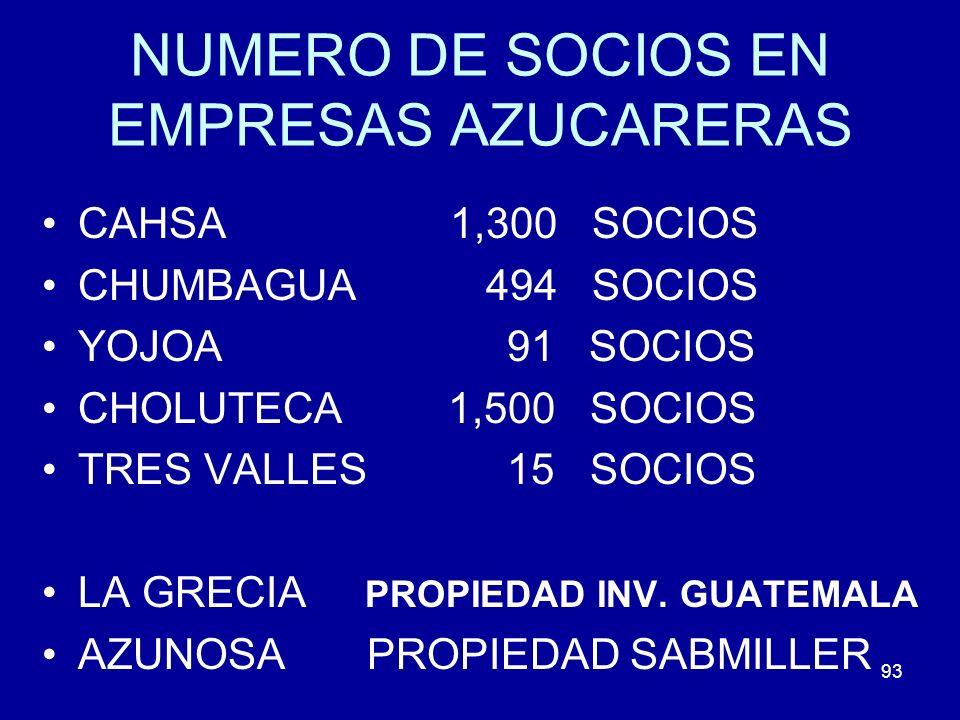 93 NUMERO DE SOCIOS EN EMPRESAS AZUCARERAS CAHSA 1,300 SOCIOS CHUMBAGUA 494 SOCIOS YOJOA 91 SOCIOS CHOLUTECA 1,500 SOCIOS TRES VALLES 15 SOCIOS LA GRE