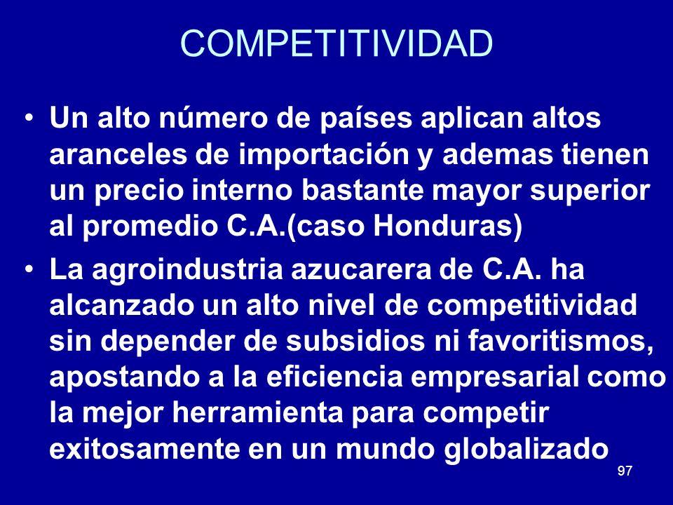 97 COMPETITIVIDAD Un alto número de países aplican altos aranceles de importación y ademas tienen un precio interno bastante mayor superior al promedi