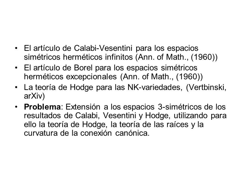El artículo de Calabi-Vesentini para los espacios simétricos herméticos infinitos (Ann. of Math., (1960)) El artículo de Borel para los espacios simét