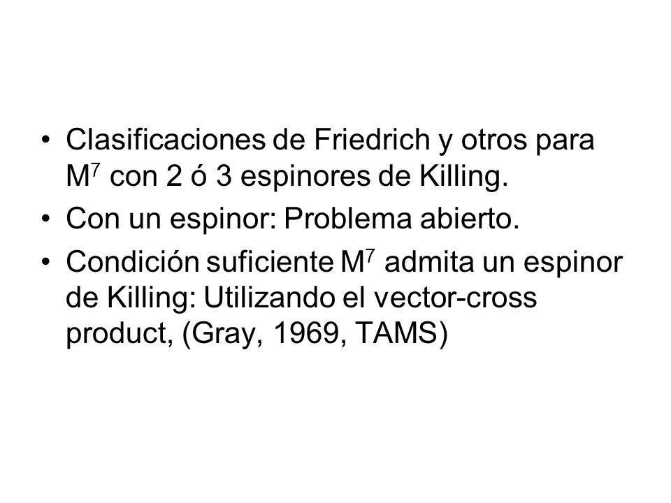 Clasificaciones de Friedrich y otros para M 7 con 2 ó 3 espinores de Killing. Con un espinor: Problema abierto. Condición suficiente M 7 admita un esp