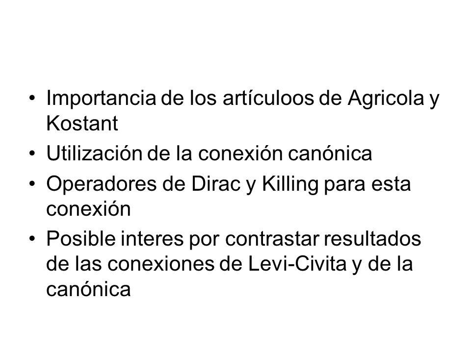 Importancia de los artículoos de Agricola y Kostant Utilización de la conexión canónica Operadores de Dirac y Killing para esta conexión Posible inter