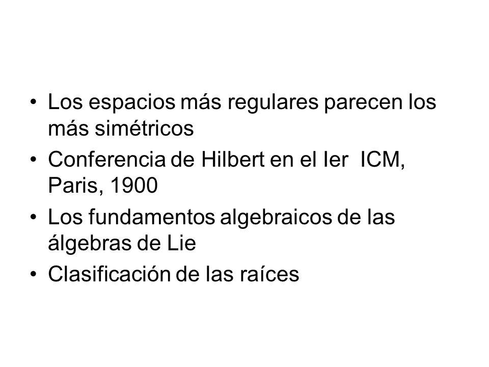 Los espacios más regulares parecen los más simétricos Conferencia de Hilbert en el Ier ICM, Paris, 1900 Los fundamentos algebraicos de las álgebras de