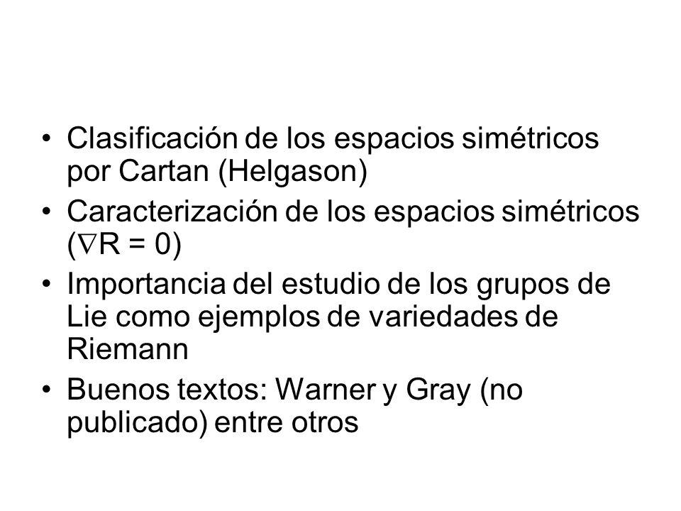 Clasificación de los espacios simétricos por Cartan (Helgason) Caracterización de los espacios simétricos ( R = 0) Importancia del estudio de los grup