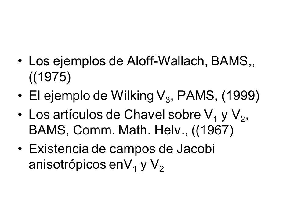 Los ejemplos de Aloff-Wallach, BAMS,, ((1975) El ejemplo de Wilking V 3, PAMS, (1999) Los artículos de Chavel sobre V 1 y V 2, BAMS, Comm. Math. Helv.