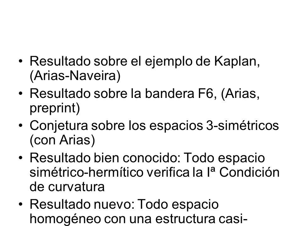 Resultado sobre el ejemplo de Kaplan, (Arias-Naveira) Resultado sobre la bandera F6, (Arias, preprint) Conjetura sobre los espacios 3-simétricos (con
