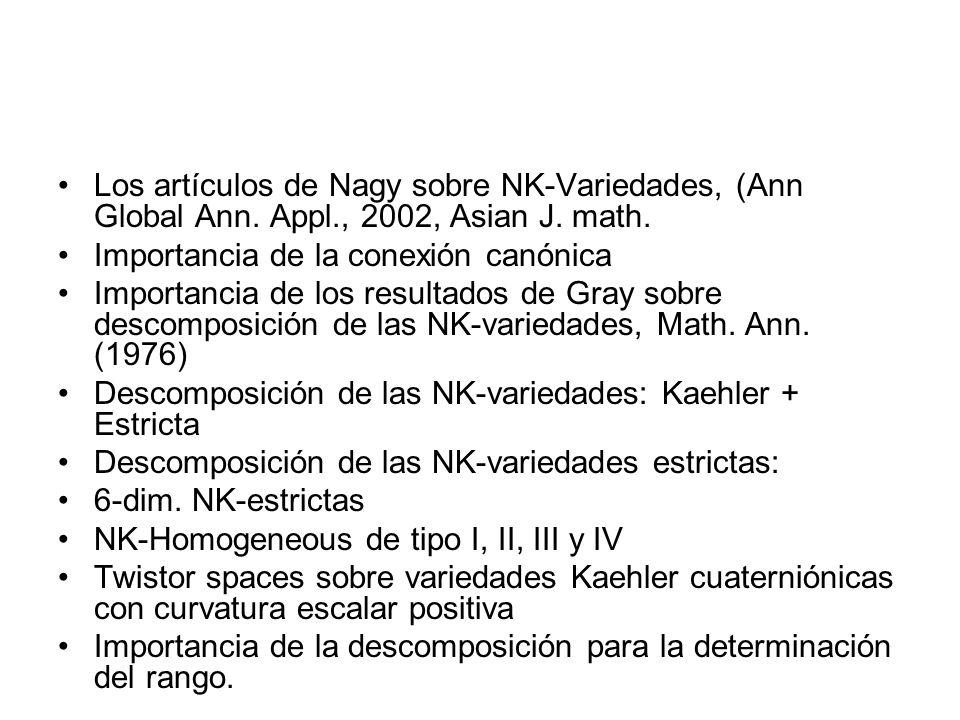 Los artículos de Nagy sobre NK-Variedades, (Ann Global Ann. Appl., 2002, Asian J. math. Importancia de la conexión canónica Importancia de los resulta